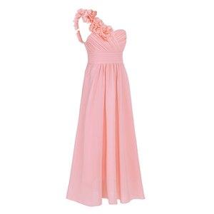 Image 2 - Dziewczyny szyfonowa suknia ślubna jedno na ramię plisowana wysokiej zwężone kwiat dziewczyna sukienka księżniczka piętro długość korowód suknia ślubna