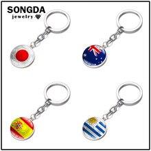 SONGDA moda Charm bayrağı anahtarlık japonya İspanya Uruguay avustralya bayrağı yuvarlak cam taş anahtarlık futbol kulübü hayranları araba anahtarı halka