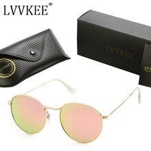 LVVKEE 2017 Diseñador de la Marca Ronda Círculo gafas de Sol de Espejo Polarizado Gafas de Sol 3447 Mujeres de Los Hombres Retros rayos gafas de sol feminino