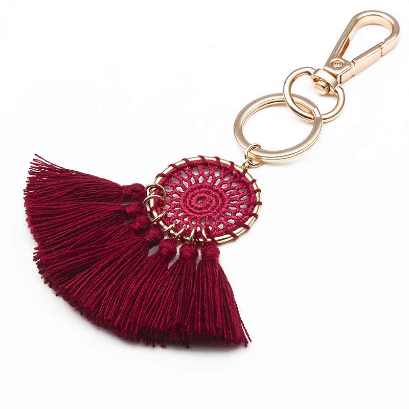 Thời trang Bohemia mới hình quạt đen trắng tua rua móc khóa nữ túi hoặc xe hơi đính tay tròn Mặt dây chuyền chìa khóa vòng trang sức quà tặng