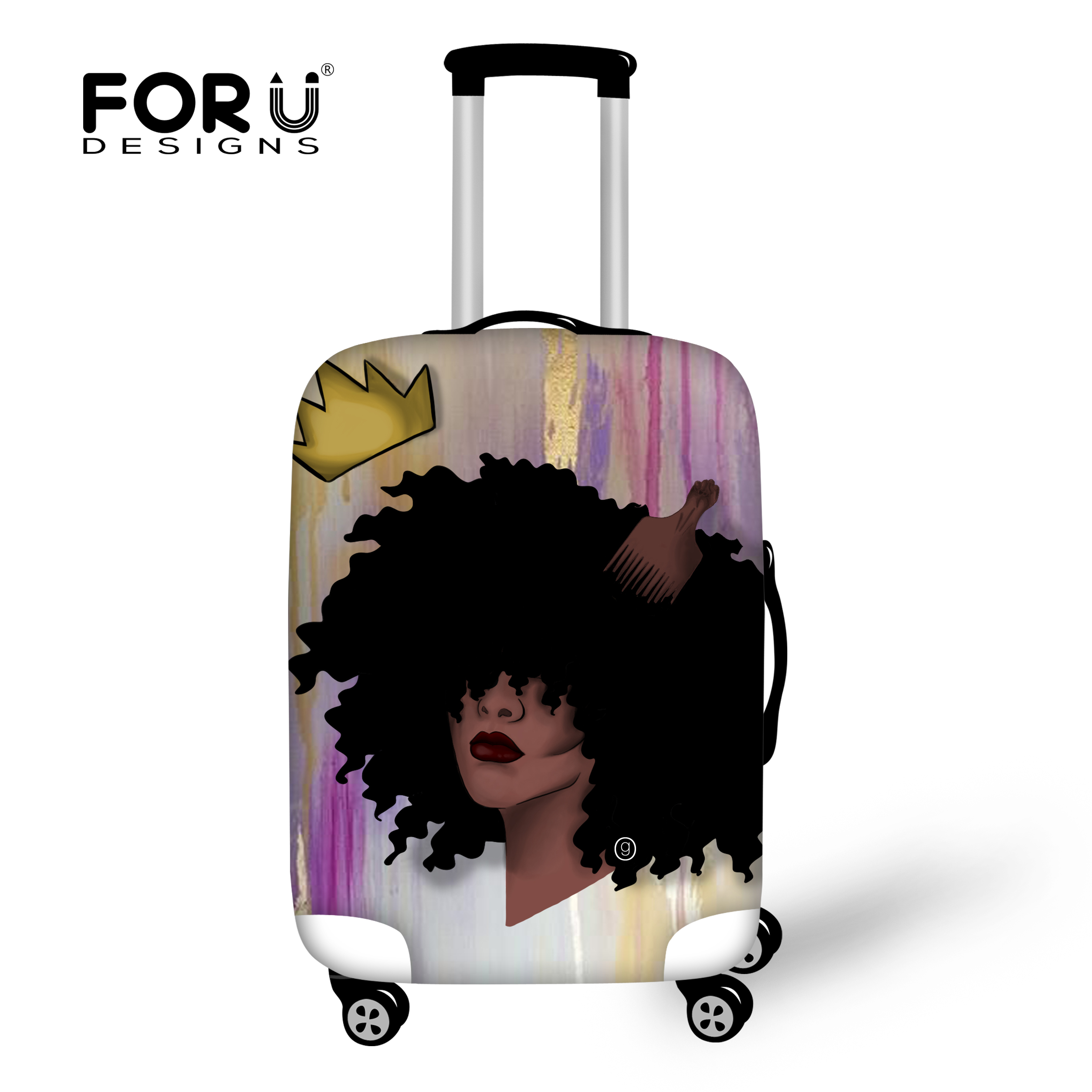 FORUDESIGNS Cute Africa Princess Case Cover Women Men Suitcese Covers Afro Art Print Travel Accessories Luggage Protection Cases