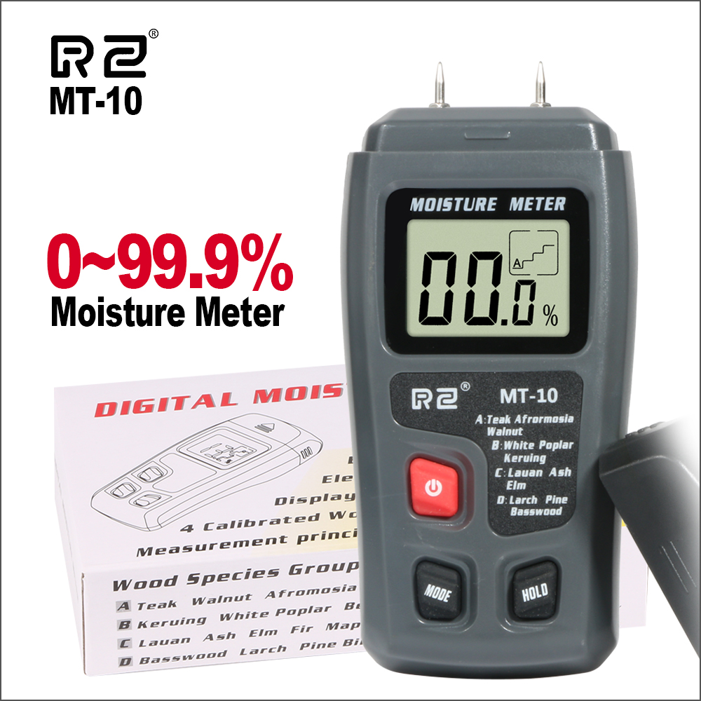 RZ Portable Digital Wood Water Moisture Meter Tester Tools Timber Hygrometer 0~99.9% Wood Moisture Meter MT10RZ Portable Digital Wood Water Moisture Meter Tester Tools Timber Hygrometer 0~99.9% Wood Moisture Meter MT10