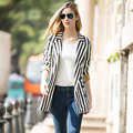 Veri Gude Women Double Breasted Blazer Long Style Vertical Striped Casual Coat