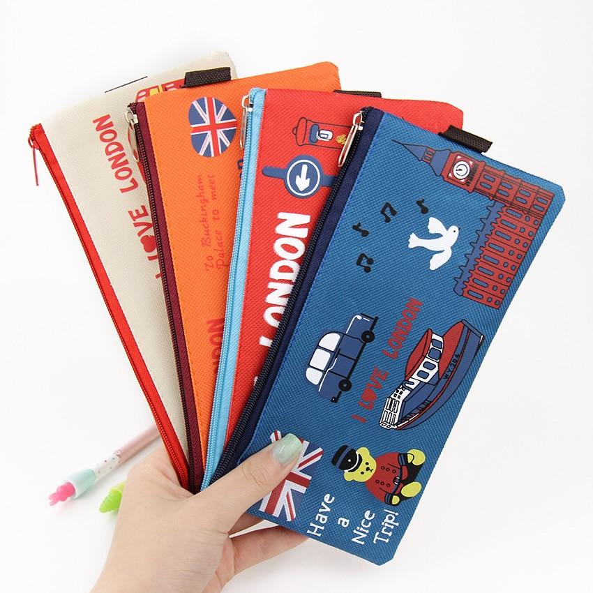 Kawaii I Love London Pencil Case Soldier Oxford Pencil Bag File Case Holder Storage Stationery School Supplie Student Gift