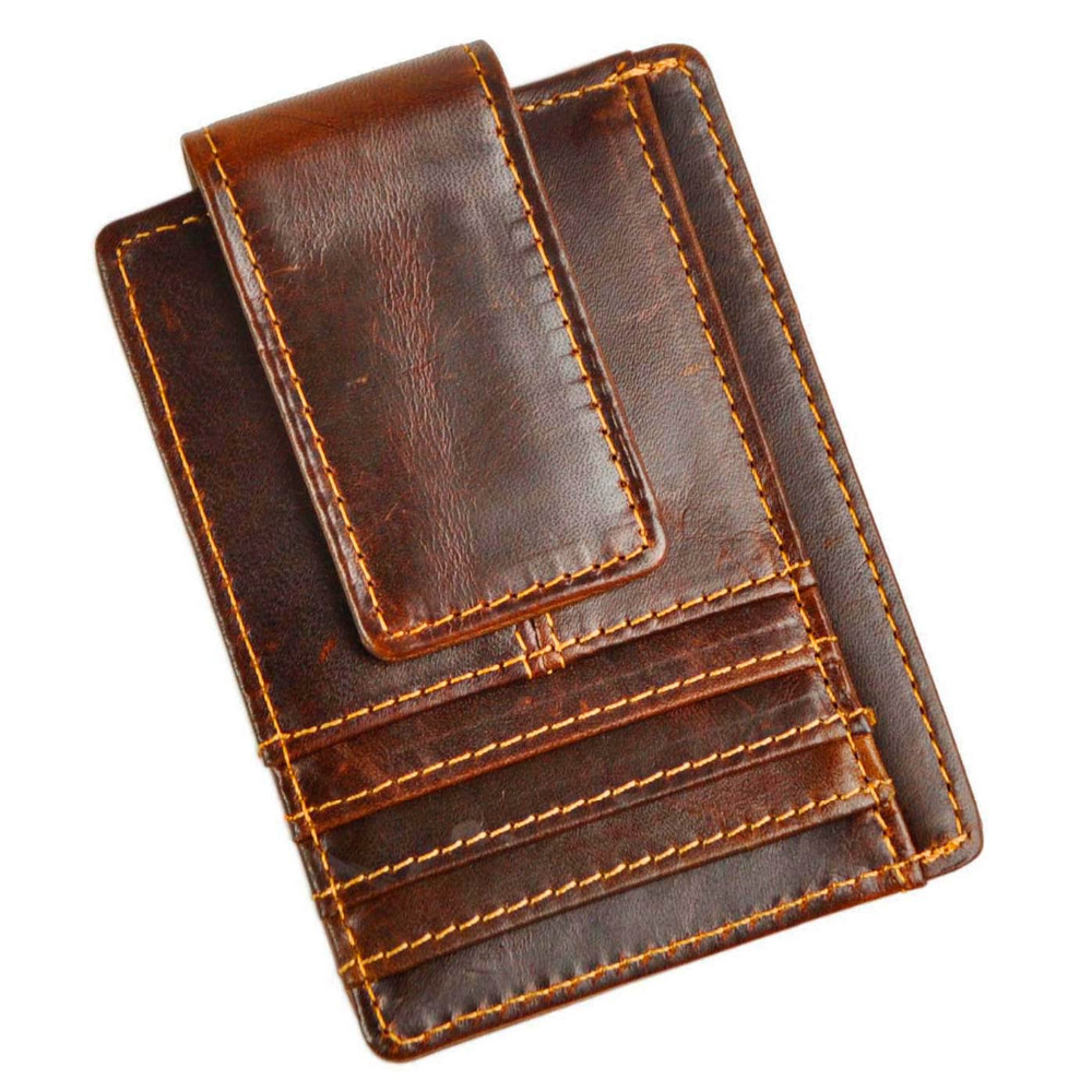 Top Quality New Cattle Men male Vintage Genuine leather Credit Card Cash Holder Magnet Clip Slim Mini Handy Wallet Purse 1015B