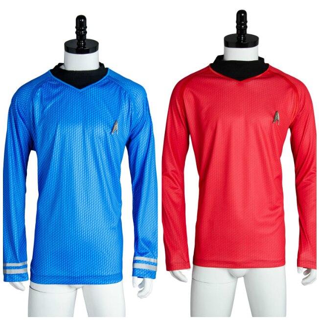 Star Cosplay Into Darkness Fleet Uhura Costume Trek T-Shirt Blue Shirt Red Top Outfit Halloween Carnival Costume Men Boys(China)