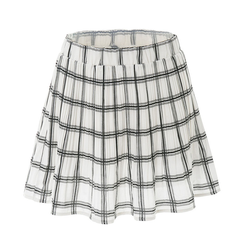 Summer Casual Plaid Ball Gown Students Skirts Girls Simple Preppy Style Natural Waist Mini Skirt YN241