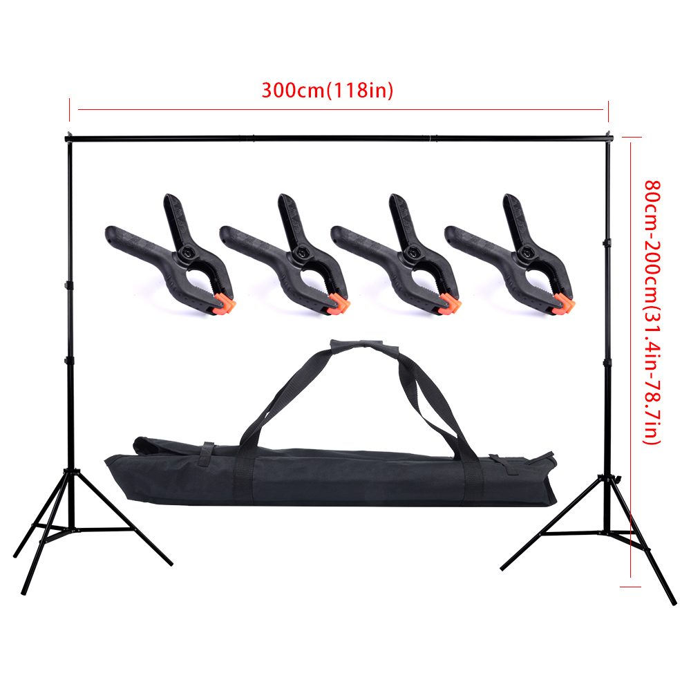 2 3m 6 5 10ft Adjustable Aluminum Photo Background Support Stand Photography Backdrop Crossbar Kit TB