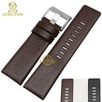 Натуральная кожа браслет ремешок для часов женские мужские часы ремешок наручные часы группа 22 24 26 28 30 мм белый цвет для DZ1405 DZ4323