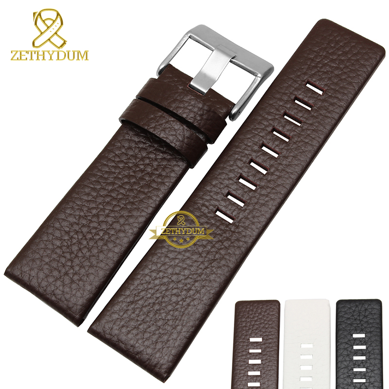 Genuine leather bracelet watchband womens mens watch strap wristwatches band 22 24 26 28 30mm white color for DZ1405 DZ4323 white ceramics band design mens leisure watch