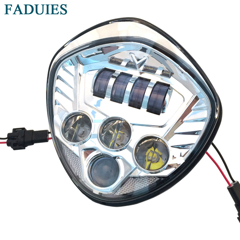 FADUIES Chrome MotoBike accessories Motorcycle Led Headlamp Victory Motorcycle LED Headlight lamps For Victory cross country цена