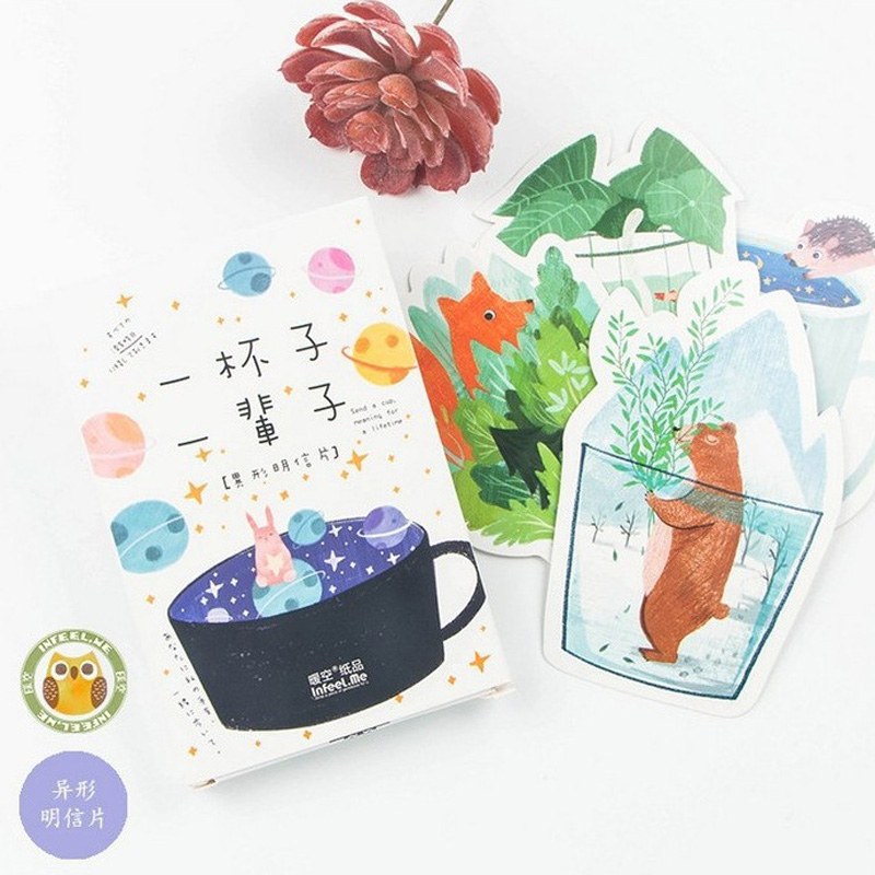 30 pcs/lot Heteromorphism Cute cup animals postcard greeting card christmas card birthday card paper bookmark stationery 30 pcs lot novelty yard cat postcard cute animal heteromorphism greeting card christmas card birthday message card gift cards