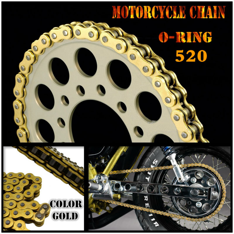 Motorcycle UNIVERSAL Drive Chain D-I-D Gold O-Ring 520 Length 120 new motorcycle 520 o ring gold drive chain 120 links 520 x 120 with masterlink