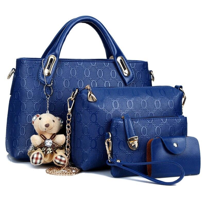 1 Set 2019 Luxury Handbags Women Bags Designer Shoulder Crossbody Bag Wallet Bear Pendant PU Leather For Travel BS88