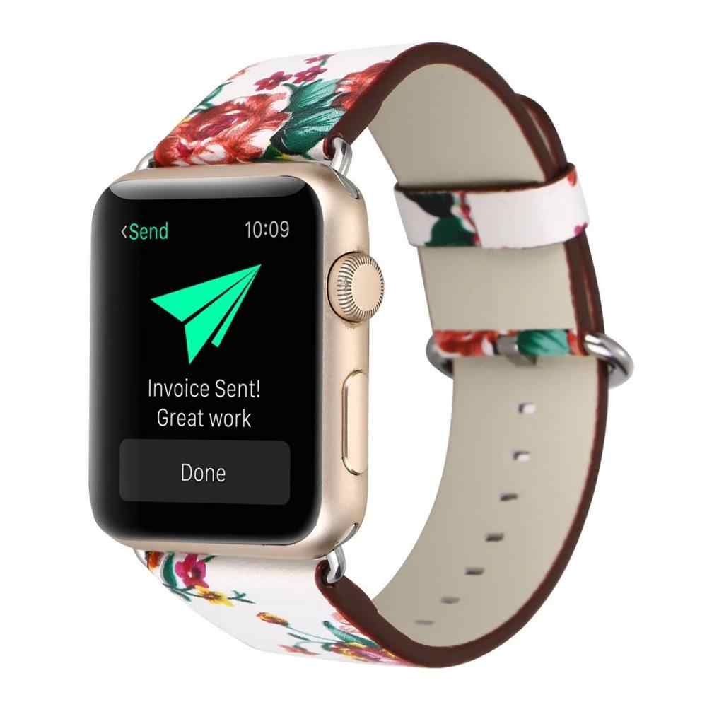 Women Fashion Flower Plant Style Band For Apple Watch 38mm 40mm 42mm 44mm Leather Strap For iWatch Series 1 2 3 4 Bracelet Belt