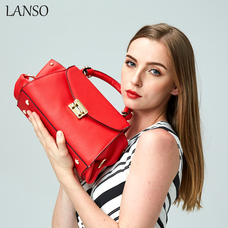 LANSO Brand Design 100% Genuine Leather Women Top-Handle Bag HIgh Quality Rivet Handbag Colorful Ladies Bags for Socialite OL