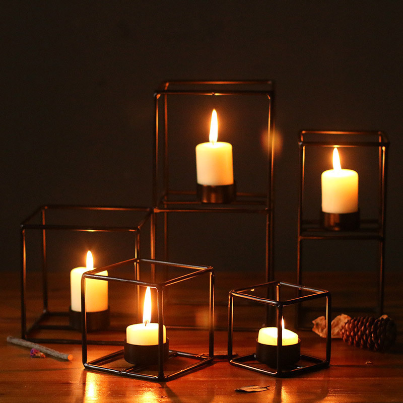 Modern Square Frame Craft Candle Holder Living Room Office Candle Stand Candlestick Wedding Decor Props Ornaments