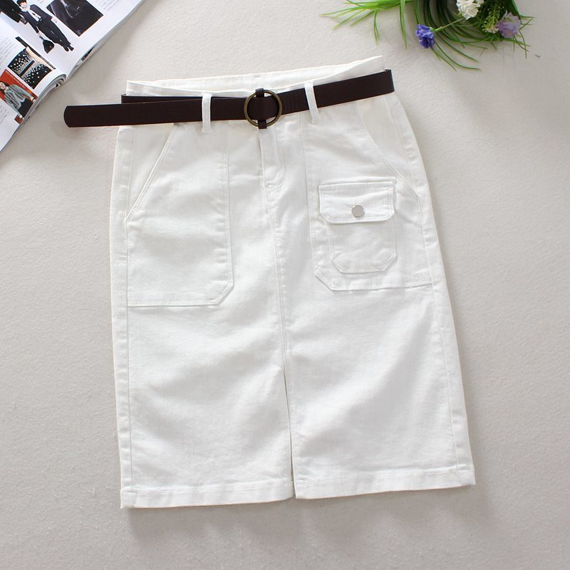 White Casual Split Denim Skirt 2018 Spring High Waist Elastic Short Denim Skirts Woman Sexy Pencil Skirt