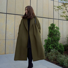 Hot Women Solid Long Coat Cotton Overcoat Loose Winter Autumn Outwear Trench Coats CGU 88