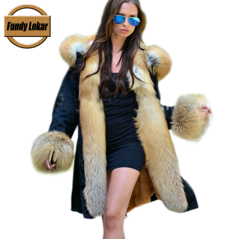Real Red Fox Fur Collar Coat Women Winter Real Rex Rabbit Fur Liner Loose Puffer Jacket With Hat Women Army Bomber Parka FP9118 maomaokong real fox fur 2017 new fashion winter coat long hood rex rabbit hairpin to overcome jacket girl