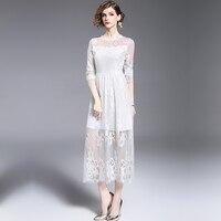 Kobiet czarny/biały elegancki lace dress see through tunika casual klub druhna matka bride dress skater linii party dress