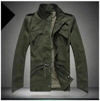 En gros Dropshipping Multi-poche Hommes Veste de Revers De Mode Col Grande Taille Manteau Zipper et Bouton Coupe-Vent Veste M-4XL