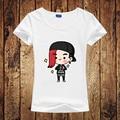 Celebridad coreana Linda de la Historieta k-pop GD Impreso Camiseta Para Las Mujeres BigBang Manga corta Ocasional de la Camisa Blanca Top Tee Tamaño Grande Tops