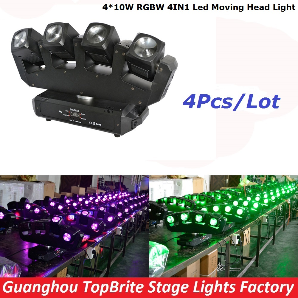 4Pcs/Lot Factory Price 4*10W RGBW 4IN1 Led Moving Head Light Cree Four Head Beam Moving Head Lights For Party KTV Disco DJ