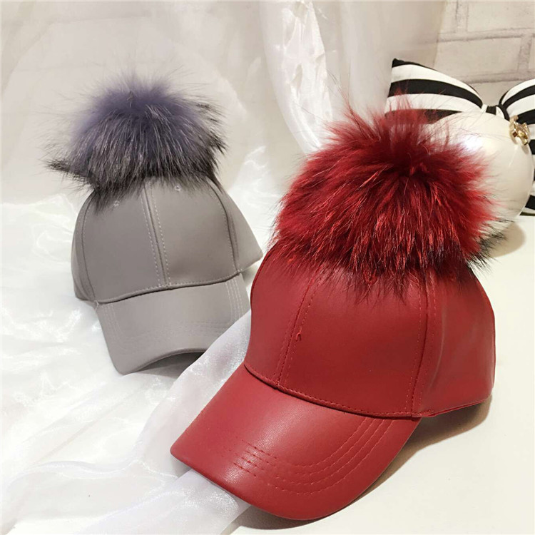 10df88be84c 2016 Fashion Real Raccoon Fur Pompoms Hats Hip Hop PU Leather Baseball Cap  women Fur Pom Pom Snapback Hat Caps-in Baseball Caps from Men s Clothing ...