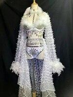 Glisten Rhinestones White Feather Festival Dress Birthday Celebrate Dress Nightclub Party Singer Costume Dance Show 3 Piece Wear