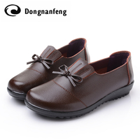 2017 New Design Real Leather Woman Flats Genuine Leather Boat Shoes Fashion Mum Moccasins Shoes Chaussure