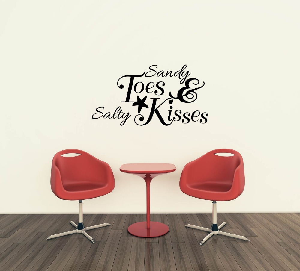 US $9.4 5% OFF|Sandy Toes And Salty Kisses Beach Wall Stickers Starfish  Lettering Wall Decals Nautical Wall Quotes Island Decors 611Q-in Wall  Stickers ...