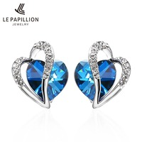 LEPAPILLION 925 Sterling Silver Earrings For Women Fine Jewelry Sapphire Crystal Heart Stud Earrings Trendy Jewelry