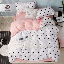 ParkShin Dot Art White Pink Bed Cover Set Decor Home Bedding Textile Bedroom Adult Girl Duvet Flat Sheet Linen