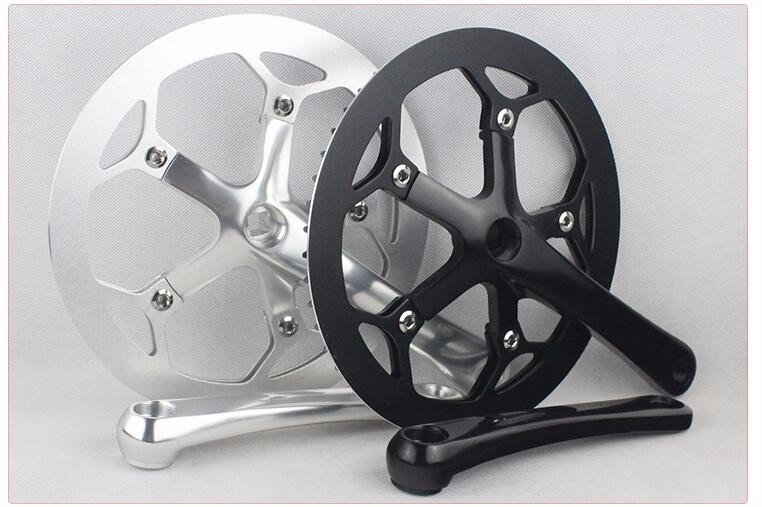 ФОТО  Aluminum 53T color single speed bicycle crankset / sprocket dead fly half aluminum bicycle chainwheel set alloy chainwheel