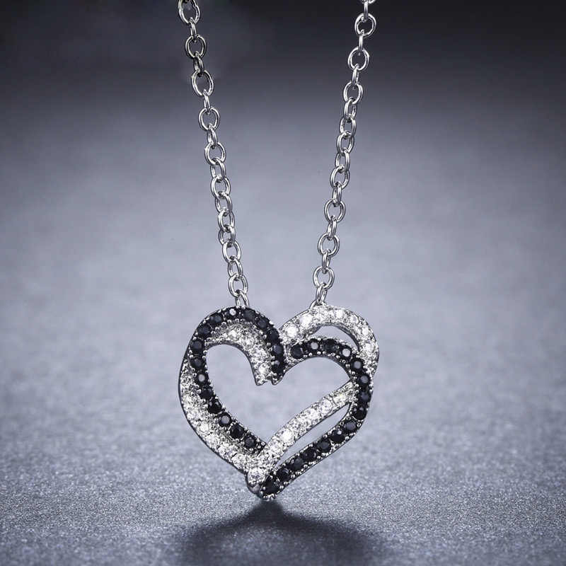 SA SILVERAGE Real 925 Sterling Silver Double/Three Heart Black White Zircon Pendant Necklace Rose Heart Chain Link Chokers