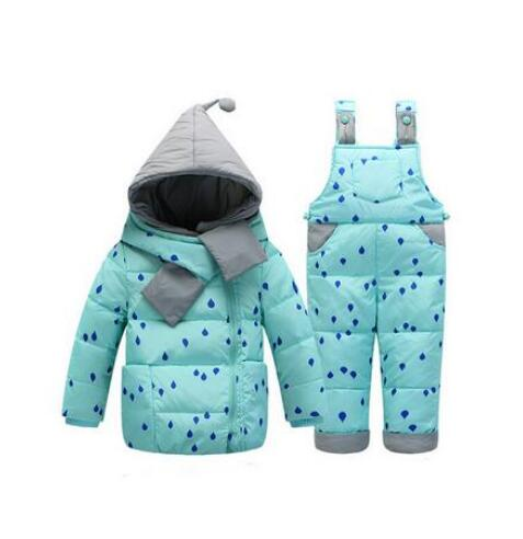 все цены на Children Boys Girls Winter Warm Down Jacket Suit Set Thick Coat+Jumpsuit Baby Clothes Set Kids Hooded Jacket With Scarf 0-4 Y