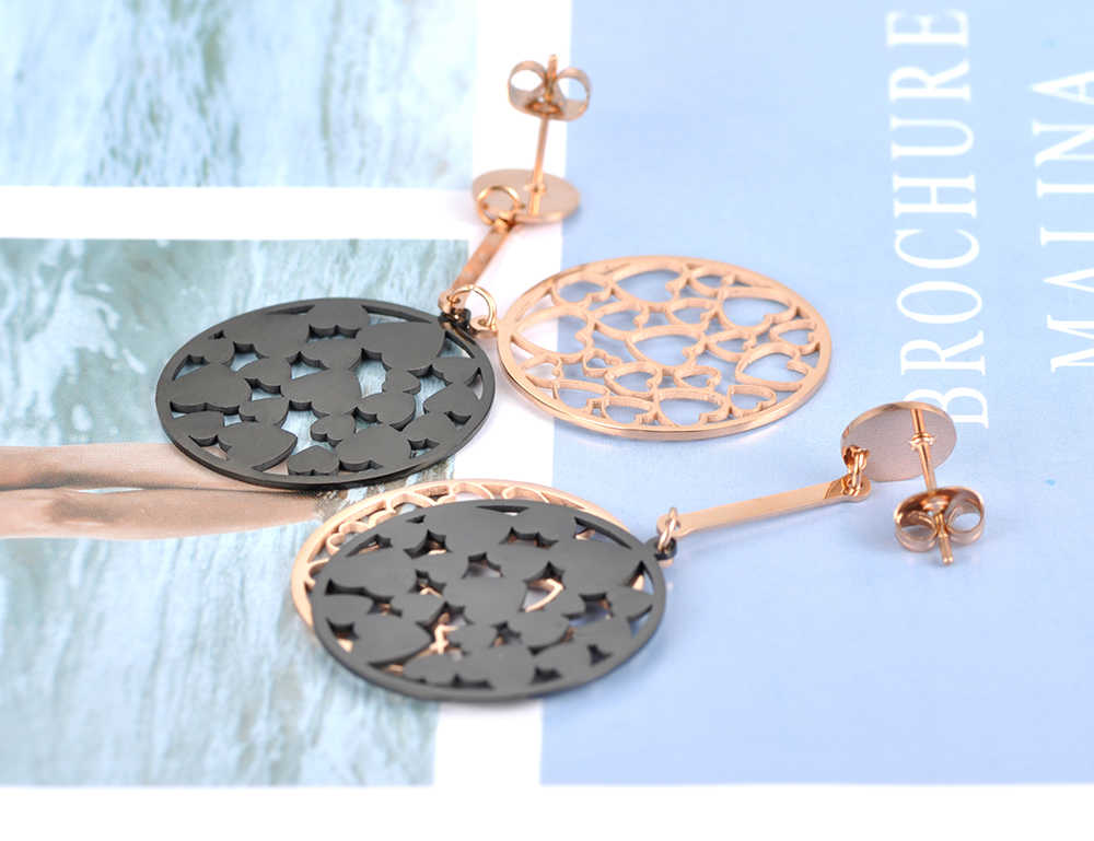 Lokaer Trendy Schwarz Acryl Herz Form Doppel Schichten Ohrringe Rose Gold Edelstahl Schmuck Aretes De Mujer Frauen E18092