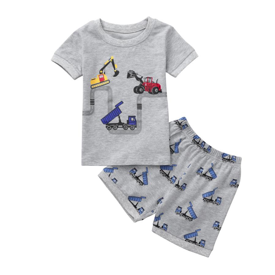 Boy clothes 2019 summer Toddler Baby Boy Cartoon Tops T-Shirt Excavator Shorts Pants Outfits Set Clothes 2018 #Zer