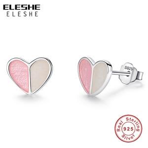 ELESHE Cute Small Pink Heart E