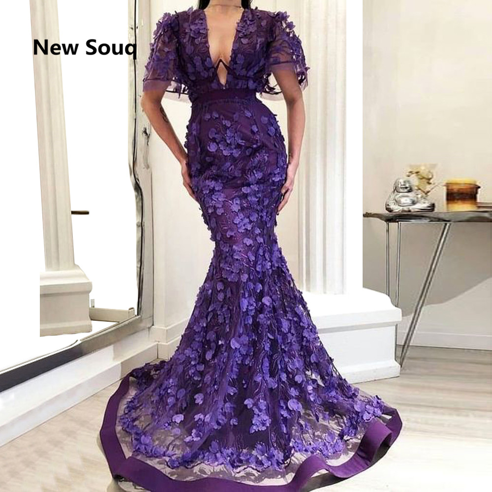 Exquisite 3D Appliqued Evening Dresses Sheer Deep V-neck Sweep Train Long Mermaid Prom Dress Middle East Evening Gowns