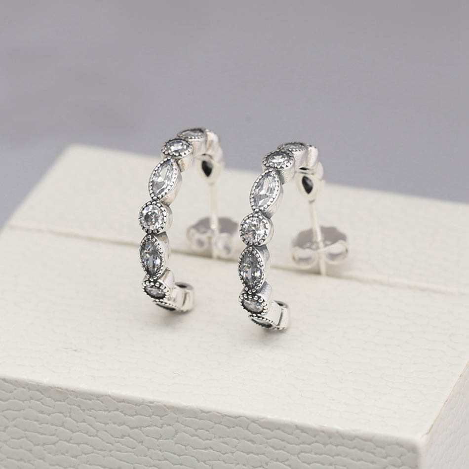Authentic 925 Sterling Silver Earring For Women Alluring Brilliant Marquise Hoop Earrings Clear CZ Wedding Gift Fit Lady Jewelry