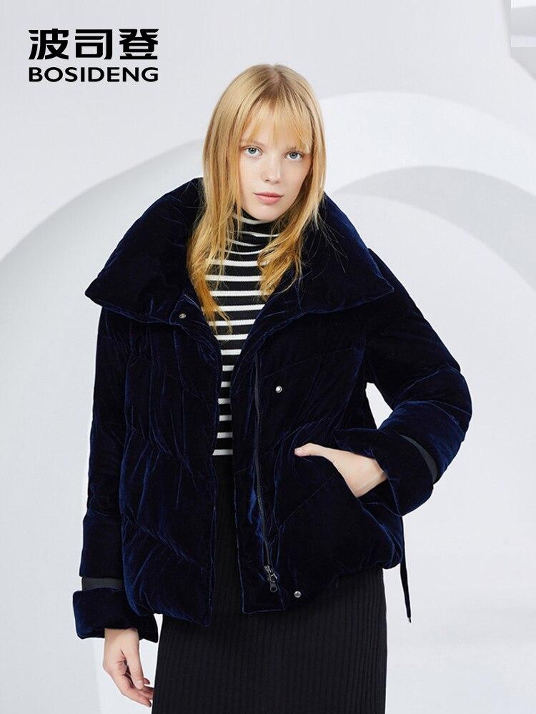 BOSIDENG 2018 new Goose Down Coat women down outwear thicken soft bud shape cuff ribbon velvet