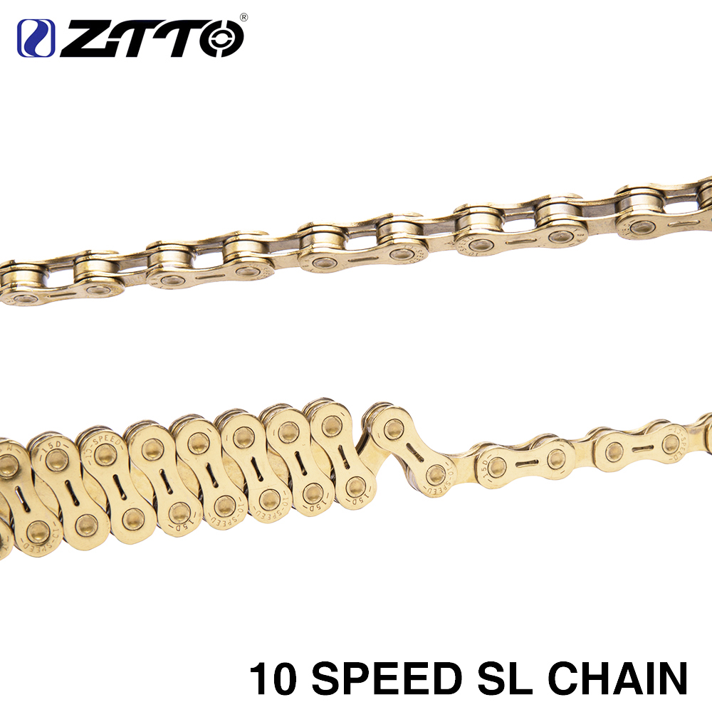 ZTTO MTB Golden Semi Hollow SL Chain Mountain Bike Road Bicycle Parts Durable Gold 10s 20 s 30 v 10 Speed for K7 System 1 pair ztto mtb mountain bike road bicycle parts 6s 7s 8s 9s 10s 11s speed magic master missing link for k7 chain