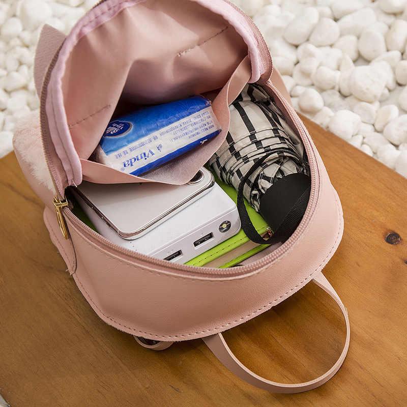 XZP śliczny mały plecak kobiety 2019 moda PU skóra ucho królika Bagpack kobieta Mini plecak dla dziewczyn Kid Lady torby na ramię