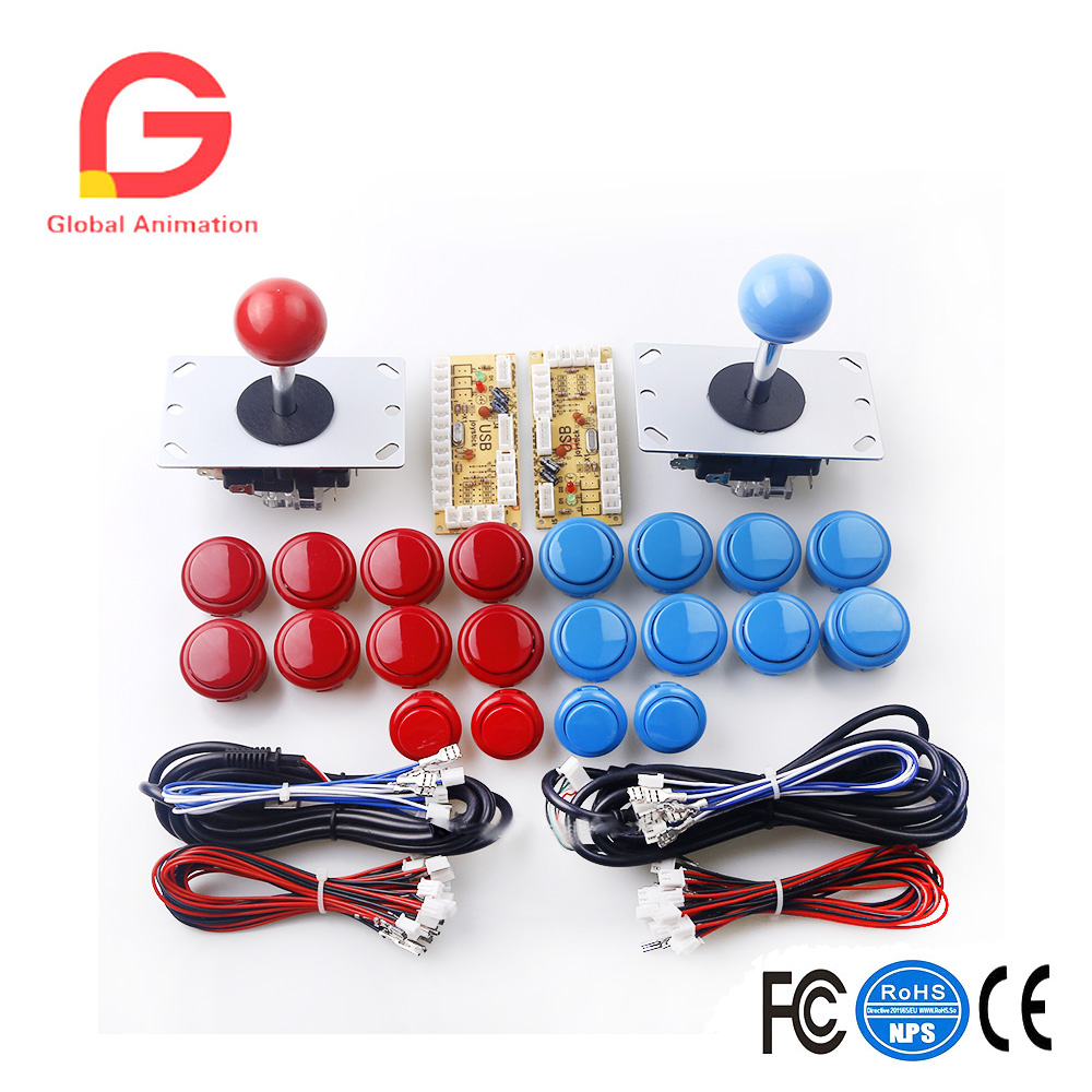 Classic Arcade Contest DIY Kits Parts Zero Delay USB Encoder To PC+ high quality Joystick + 20x Buttons to MAME Game