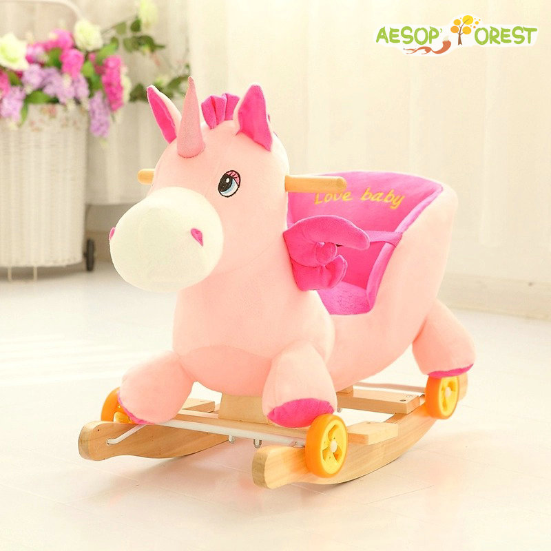 ФОТО Free shipping rocking horse newborn Baby RIDE ON unicorn carriage 2in1 wooden musical unicorn children chair bassinet buggy gift