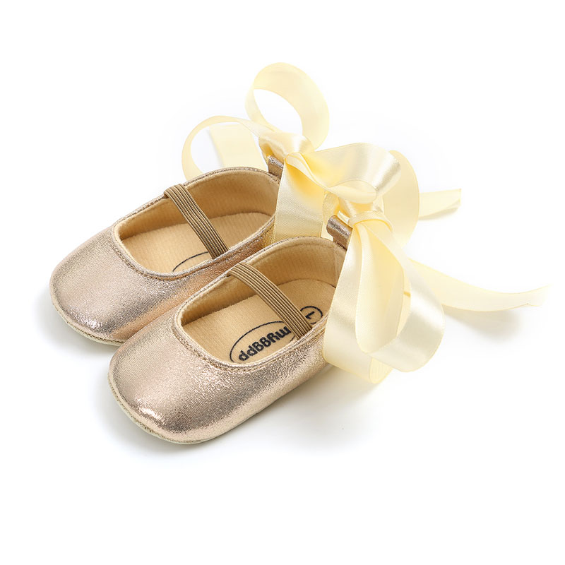 Baby Girl Princess Shoes Bandage Fashion Toddler First Walkers Kid Shoes Baby Gold Shoes Soft Sole Moccasin