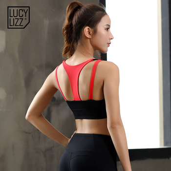 Women Black Sports Bra Hit Color Fitness Tops Backless Athletic Tank Active Wear Sport Clothes Running Tank Top Women Sport Sexy 1