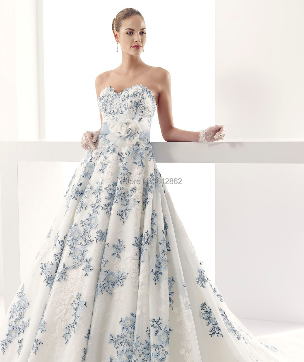 Strapless Sweetheart Low Back Ball Gown Lace Royal Blue And White ...